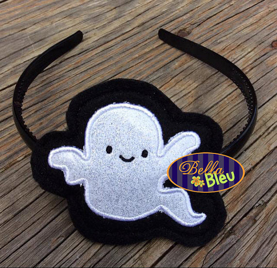 ITH in the hoop Halloween Ghost Headband slider Topper machine embroidery