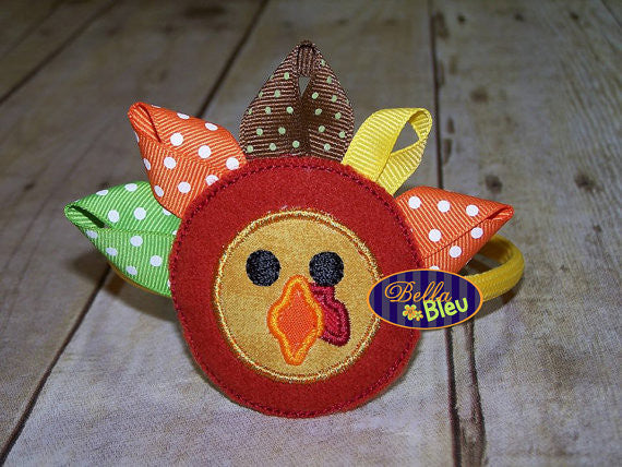 ITH in the hoop Thanksgiving Ribbon Turkey Headband Topper machine embroidery