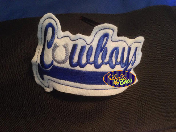 ITH in the hoop Cowboys Sports Headband Slider Topper machine embroidery