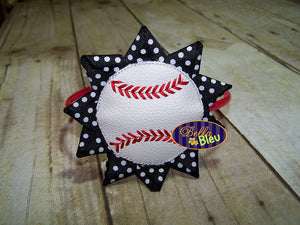ITH in the hoop Ribbon Baseball Flower Headband Topper & Bow holder machine embroidery