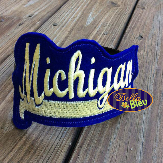 ITH in the hoop Michigan Sports Headband Slider Topper machine embroidery