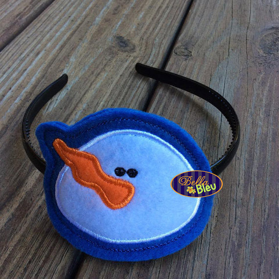 ITH in the hoop Christmas Snowman Headband Slider Topper machine embroidery