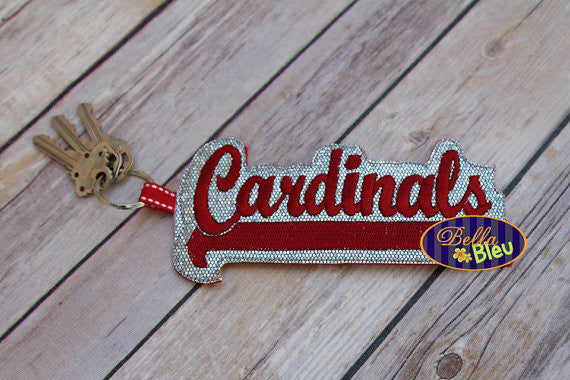 ITH in the hoop Cardinals Sports Keychain machine embroidery