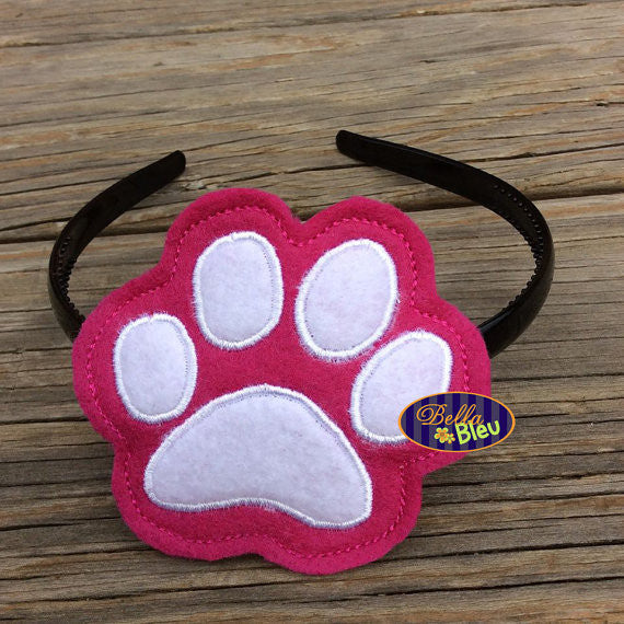 ITH in the hoop Power Paw Print Headband Topper Slider machine embroidery