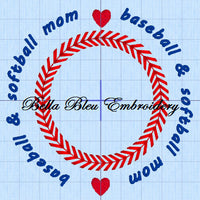 Baseball Softball Mom Stitches Monogram Embroidery Design