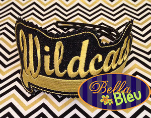 ITH in the hoop Wildcats Headband Slider Topper machine embroidery