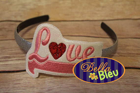 In the hoop Love Valentines Headband Slider Topper machine embroidery design