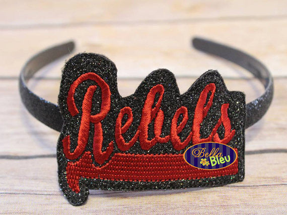 ITH in the hoop Rebels Sports Headband Slider Topper machine embroidery
