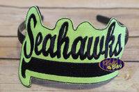 ITH in the hoop Seahawks Headband Slider Topper machine embroidery