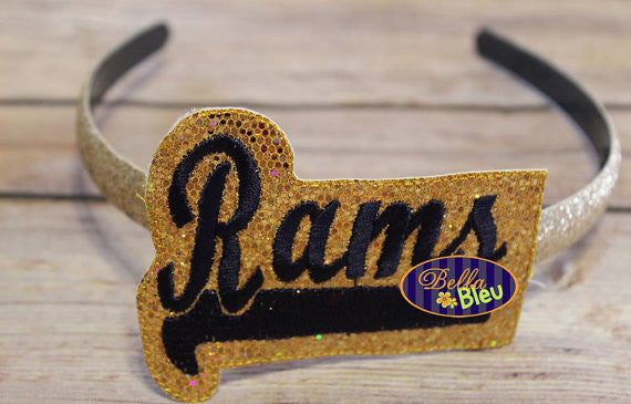 ITH in the hoop Rams Sports Headband Slider Topper machine embroidery