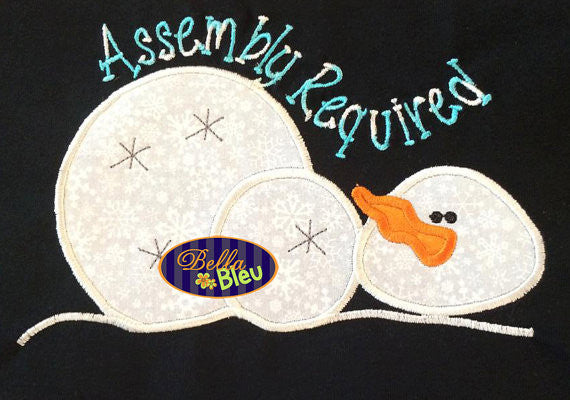 Adorable Assembly Required Snowman Machine Applique Embroidery Designs Design