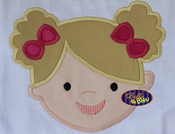 Adorable Girl with Pigtails Machine applique Embroidery design