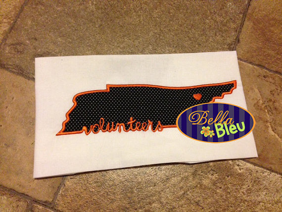 Tennessee State Volunteers Saying Applique Embroidery Design Monogram