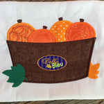Applique Adorable Barrel of Pumpkins Thanksgiving Halloween embroidery design