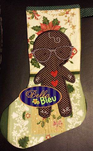 Geeky Geek Gingerbreadman Machine Applique Embroidery design