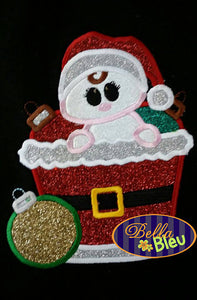 Adorable Babys First Christmas in a barrel Machine Applique Embroidery Designs Design