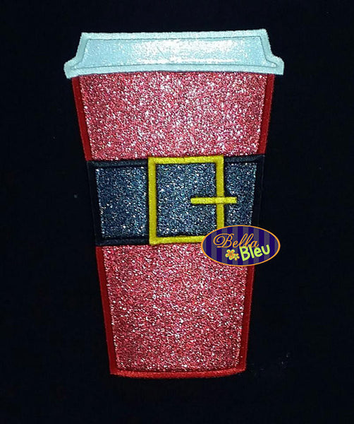 Adorable Santa Santabucks Coffee Cup Mug Machine Applique Embroidery Designs Design