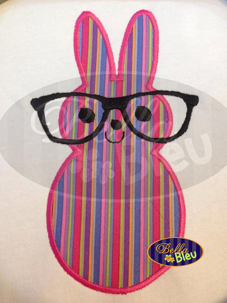 Adorable Cuddly Geek Easter Bunny Rabbit with Glasses Applique Embroidery Design