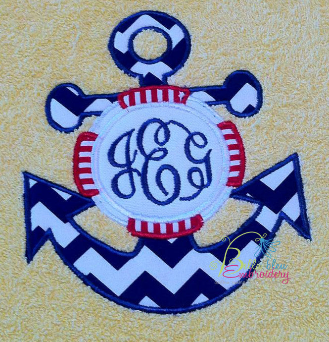 Nautical Anchor life saver Monogram Applique Embroidery Designs Design Monogram