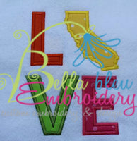 California State Love Applique Embroidery Design Monogram