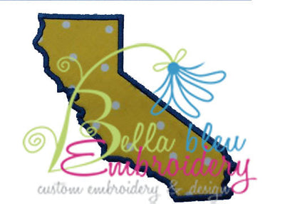 California State Applique Embroidery Design Monogram