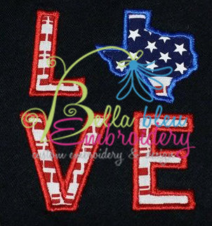 Texas State Love Applique Embroidery Design Monogram