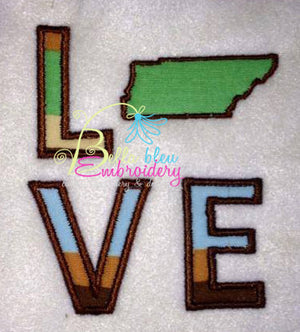 Tennessee State Love Applique Embroidery Design Monogram