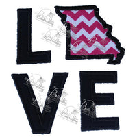 Missouri State Love Applique Embroidery Design Monogram