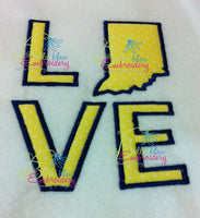 Indiana State Love Applique Embroidery Design Monogram