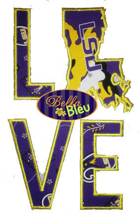 Louisiana State Love Applique Embroidery Design Monogram