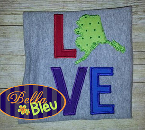Alaska State Love Applique Embroidery Design Monogram