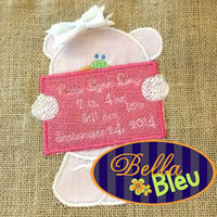 Lenny the announcement baby bear Applique Embroidery Design