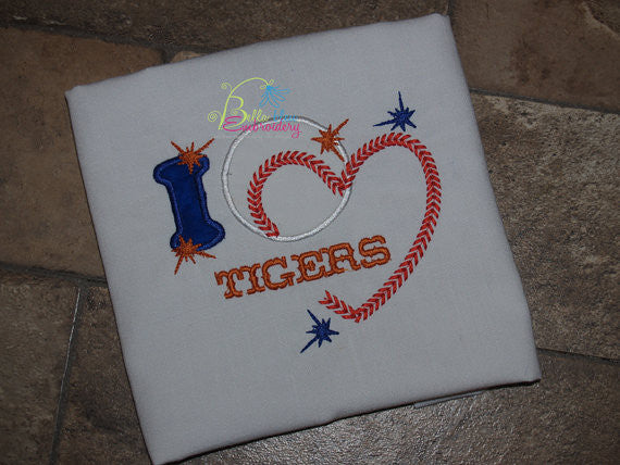 I love Baseball heart with stitches Applique Embroidery Design