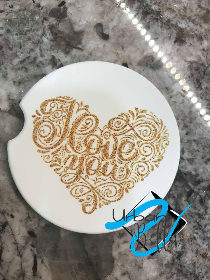 Gold I Love You Heart Valentines Drink Sand Stone Car coaster
