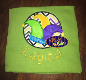 Mardi Gras Jester Hat with Circle Machine Applique Embroidery Design