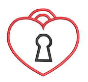 Locked heart Valentines Day Applique Embroidery Design