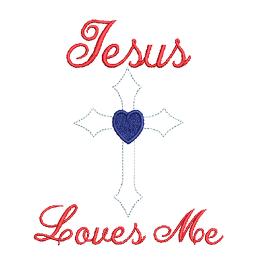 Jesus Loves Me Cross Bean Stitch Applique machine embroidery design