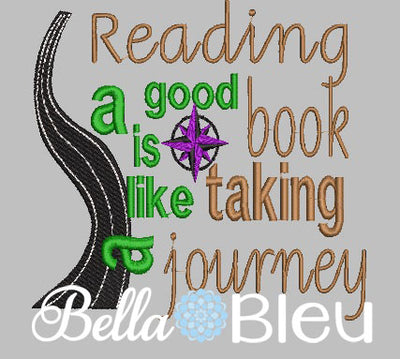 Reading Pillow Quote, Reading Pillow Embroidery design, Saying Quotes, Reading a good book is like taking a journey embroidery design