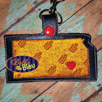 Kansas State Wheat filled key chain key fob machine embroidery in the hoop design