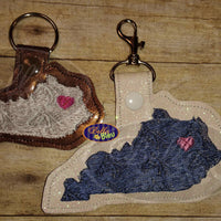 Kentucky State horse filled key fob key chain machine embroidery in the hoop design