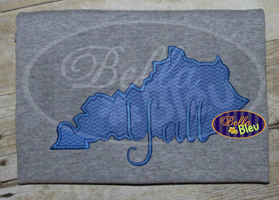 Kentucky State Applique with Y'all Signature Embroidery Design Monogram