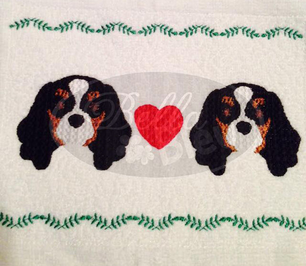 Adorable King Charles Spaniel faux smocking design