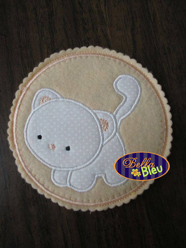 Kitty Cat Machine Applique Embroidery Design