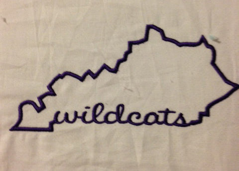 Kentucky State Applique with Wildcats Signature Embroidery Design Monogram