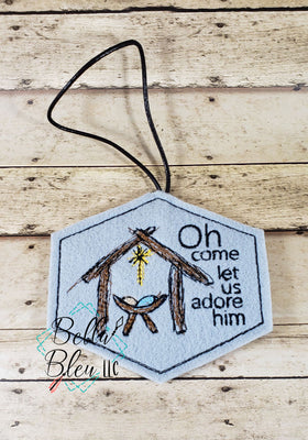 ITH Let Us Adore Him Jesus Christmas Ornament