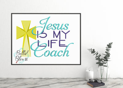 Jesus is my Life Coach Saying Machine Embroidery Design