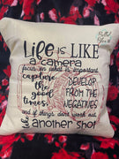 Life is like a camera decorative pillow cover