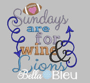 Sundays are for wine and Lions football machine embroidery design