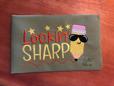 Lookin' Sharp with Pencil back to school machine embroidery design