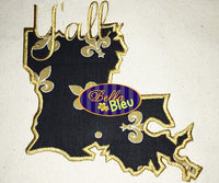 Louisiana State Applique with Y'all Signature Embroidery Design Monogram